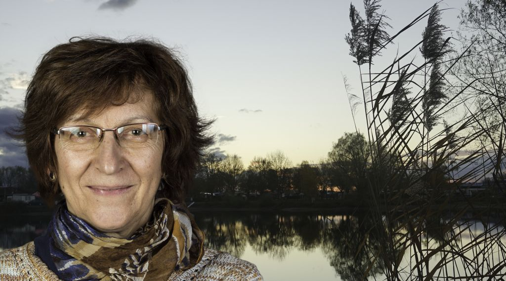 Foto-Collage: links Frau mit Brille, längeren, braunen Haaren, im Hintergrund See mit Schilf und Uferbäumen, Abensdstimmung